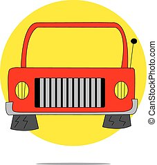 Illustration of a red car with yellow circle background
