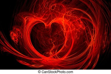illustration of a red fire heart