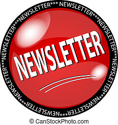 red newsletter button - illustration of a red newsletter...