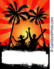 red party placard with palms