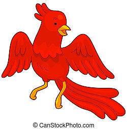 Phoenix - Illustration of a Red Phoenix in Flight