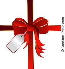 illustration of a red ribbon with card tag