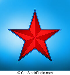 illustration of a red star on blue background. EPS 8 vector file included