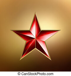 illustration of a Red star on gold. EPS 8 - illustration of...