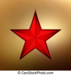 illustration of a red star on gold. EPS 8