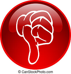 red thumb down button - illustration of a red thumb down ...
