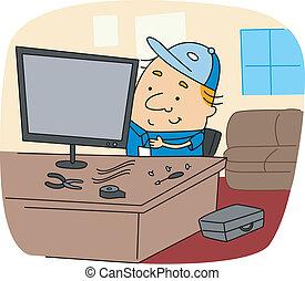 Illustration of a Repairman at Work