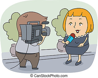 Reporter - Illustration of a Reporter at Work
