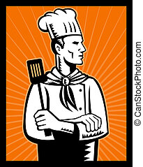Retro Chef cook holding spatula - illustration of a Retro...