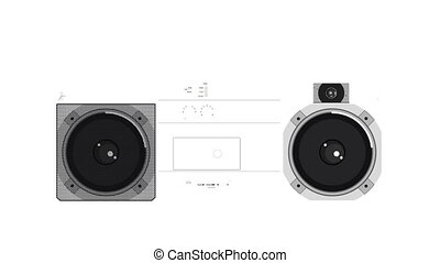 illustration of a retro ghetto blaster with the pieces...