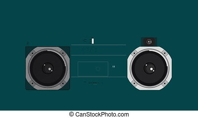 illustration of a retro ghetto blaster with the pieces growing and forming to make the whole object