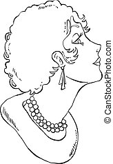 Illustration of a retro woman with perl jewelry