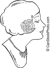 Illustration of a retro woman with rose in her hair