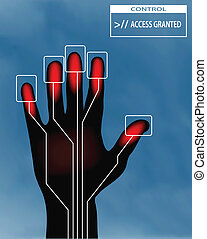 concept of access granted - illustration of a right hand...