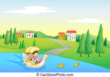 a river and kids