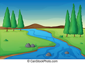 river - illustration of a river in a beautiful nature