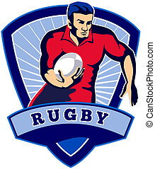 Rugby player running with ball facing front with shield in background and words