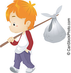 Runaway Boy - Illustration of a Runaway Boy Carrying a...