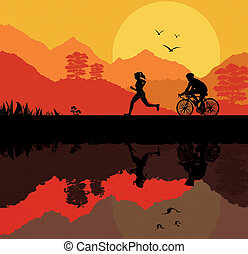 woman running and cyclist