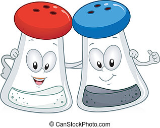Illustration of a Salt and Pepper Shaker Hanging Out Together