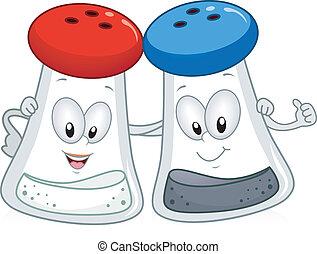 Salt and Pepper - Illustration of a Salt and Pepper Shaker...