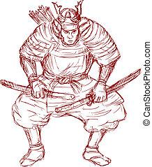 samurai warrior with sword in fighting stance - illustration...