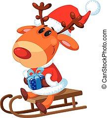 Santa sitting on a sled