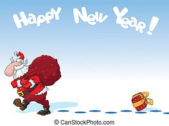 Santa with a bag of card
