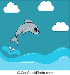 illustration of a sardine jumping water