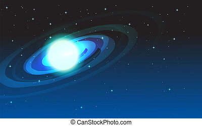 saturn - illustration of a saturn in blue sky
