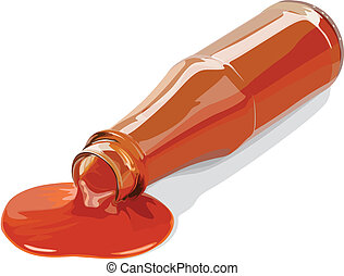 illustration of a sauce and bottle on a white background