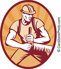 illustration of a sawyer logger sawing crosscut saw set inside an ellipse with sunburst done in retro style