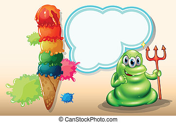 Illustration of a scary monster with a death fork standing near the giant icecream