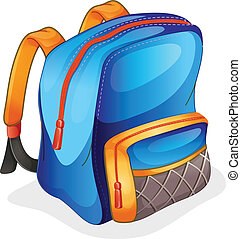 a school bag - illustration of a school bag on a white...