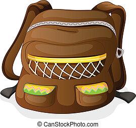 a school bag - illustration of a school bag on a white...