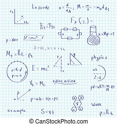 Illustration of a school exercise book on physics. Seamless pattern.