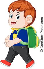 a schoolboy with backpacks walking with smile - illustration...