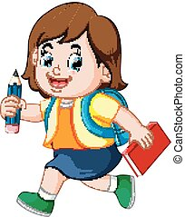 a schoolgirl holding pencil with backpacks and books walking...