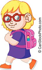 a schoolgirl with backpacks walking - illustration of a...
