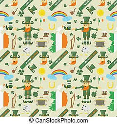 illustration of a seamless pattern 2 of Irish design for St. Patricks day celebration, drawn in flat style
