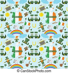 illustration of a seamless pattern 3 of Irish design for St. Patricks day celebration, drawn in flat style