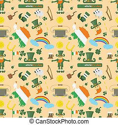 illustration of a seamless pattern 4 of Irish design for St. Patricks day celebration, drawn in flat style