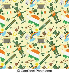 illustration of a seamless pattern 5 of Irish design for St. Patricks day celebration, drawn in flat style