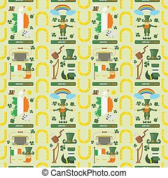 illustration of a seamless pattern 6 of Irish design for St. Patricks day celebration, drawn in flat style