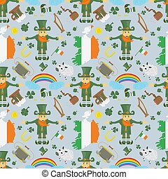 illustration of a seamless pattern 7 of Irish design for St. Patricks day celebration, drawn in flat style