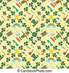 illustration of a seamless pattern 8 of Irish design for St. Patricks day celebration, drawn in flat style