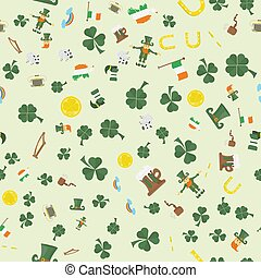 illustration of a seamless pattern 9 of Irish design for St. Patricks day celebration, drawn in flat style
