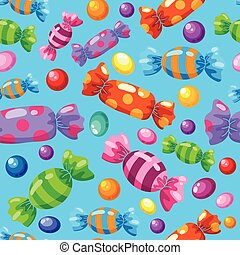 seamless pattern candies blue