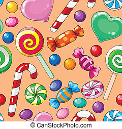 seamless pattern candies - illustration of a seamless ...