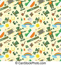 illustration of a seamless pattern of Irish design for St. Patricks day celebration, drawn in flat style
